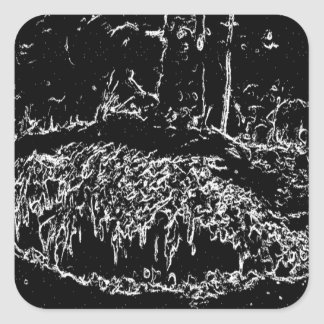 black and white drawing square sticker