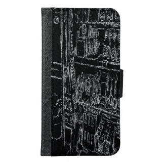 black and white drawing wallet phone case for samsung galaxy s6