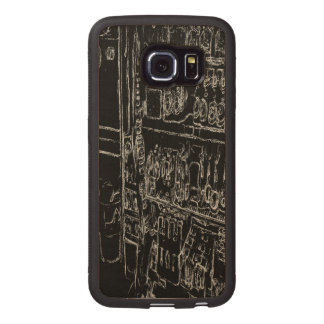 black and white drawing wood phone case