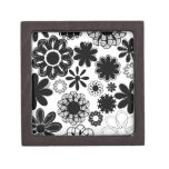 black and white drawn flowers premium gift box