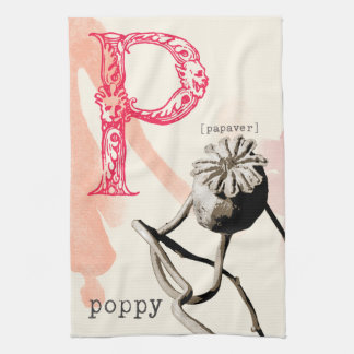 black and white dried poppy kitchen towel