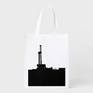 Black and White Drilling Rig Silhouette Grocery Bag