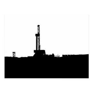 Black and White Drilling Rig Silhouette Postcard