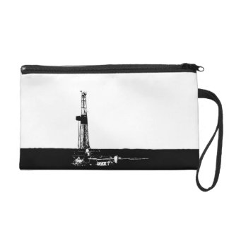 Black and White Drilling Rig Silhouette Wristlet