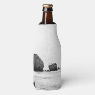 Black and White Dunedin beach Bottle Cooler