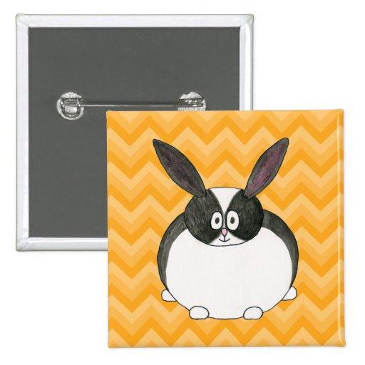 Black and White Dutch Rabbit. 2 Inch Square Button