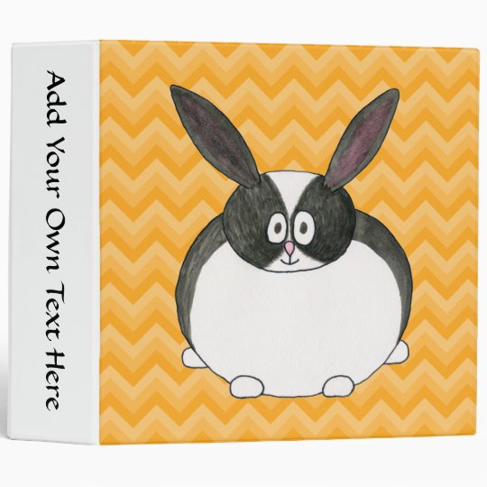 Black and White Dutch Rabbit. 3 Ring Binder