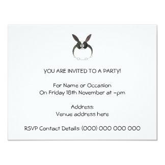 Black and White Dutch Rabbit. 4.25x5.5 Paper Invitation Card