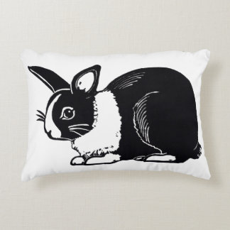 Black and White Dutch Rabbit Accent Pillow