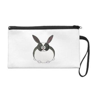 Black and White Dutch Rabbit. Wristlet Purse