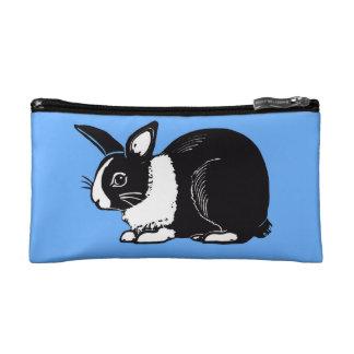 Black and White Dutch Rabbit Blue Cosmetic Bag