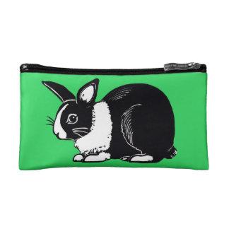 Black and White Dutch Rabbit Green Cosmetic Bag