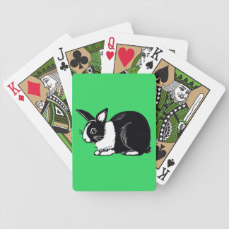 Black and White Dutch Rabbit Green Playing Cards