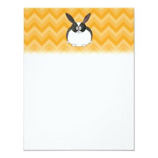 Black and White Dutch Rabbit. Custom Invitation