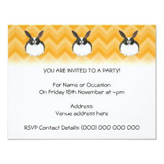 Black and White Dutch Rabbit. Personalized Invitation