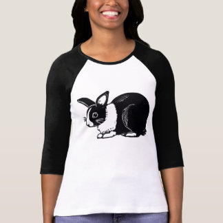 Black and White Dutch Rabbit Ladies Raglan T-Shirt