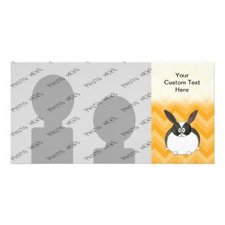 Black and White Dutch Rabbit. Custom Photo Card