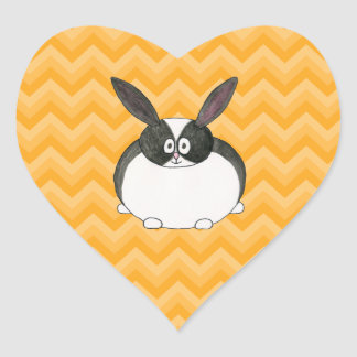 Black and White Dutch Rabbit. Heart Stickers