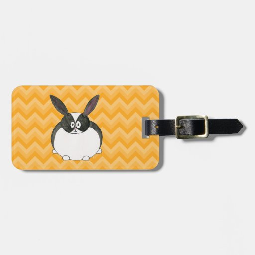 Black and White Dutch Rabbit. Tag For Luggage