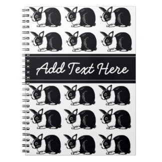 Black and White Dutch Rabbits Custom Notebook