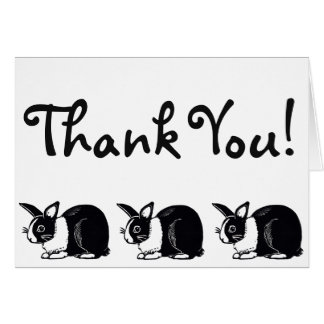 Black and White Dutch Rabbits Thank You Card