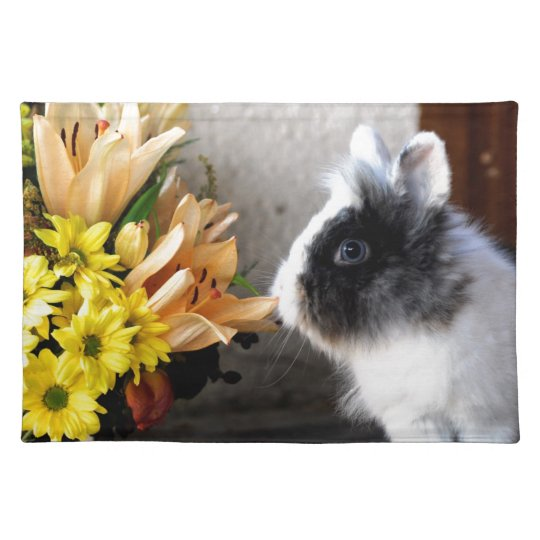 Black and white dwarf rabbit placemat