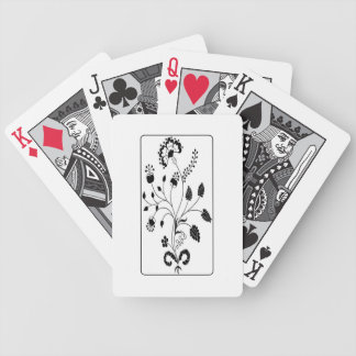 Black and White Early American Floral Design Bicycle Playing Cards