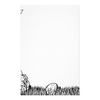 Black and White Easter bunny Illustration Stationery
