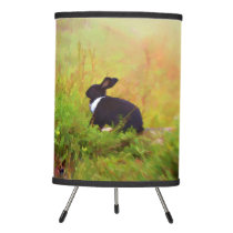 Black And White Easter Bunny In Colorful Foliage Tripod Lamp