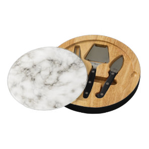 black and white Ebony Ivory marble stone finish Cheese Platter