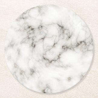 black and white Ebony Ivory marble stone finish Round Paper Coaster