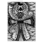 Black and White Egyptian Scarab Ankh Thank You Card