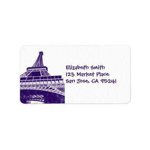 Black and White Eiffel Tower Address Labels