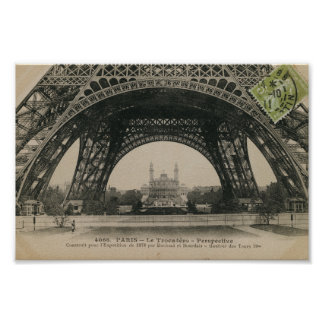 Black and White Eiffel Tower Base Poster
