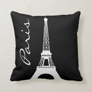 Black and White Eiffel Tower Paris Throw Pillow