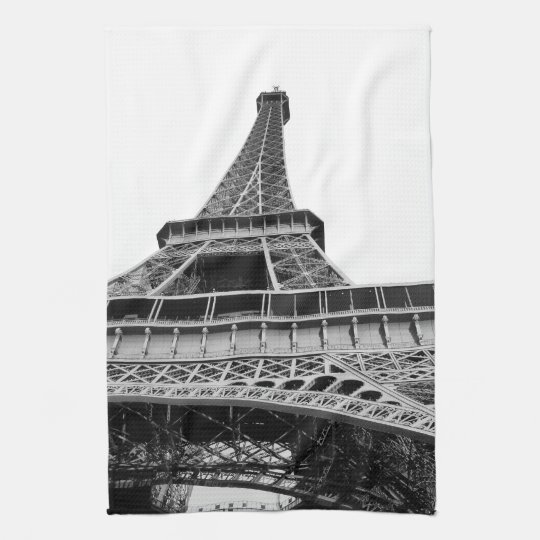 Black and White Eiffel Tower Towel