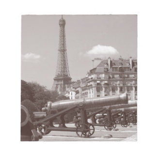 black and white Eiffel Tower vintage photograph Memo Pads