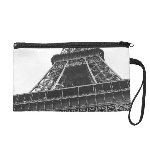 Black and White Eiffel Tower Wristlet Clutches