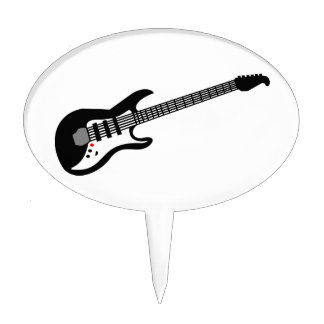 Black and White Electric Guitar Cake Topper