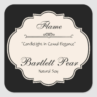 Black and White Elegance Candle Label Square Sticker