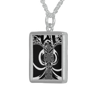Black and White Elegant Classic Patterned Design Sterling Silver Necklace