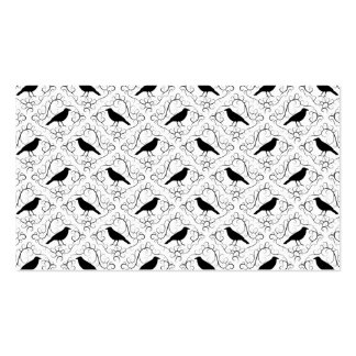 Black and White Elegant Crow Pattern. Business Card