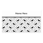 Black and White Elegant Crow Pattern. Business Card Template