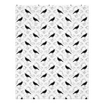 Black and White Elegant Crow Pattern. Flyer