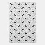 Black and White Elegant Crow Pattern. Kitchen Towel