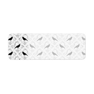 Black and White Elegant Crow Pattern. Label