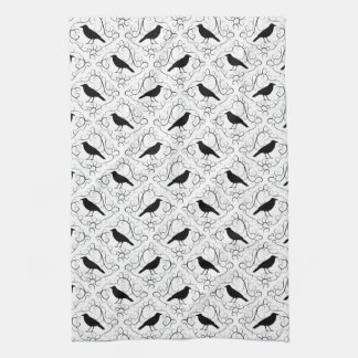 Black and White Elegant Crow Pattern. Towel