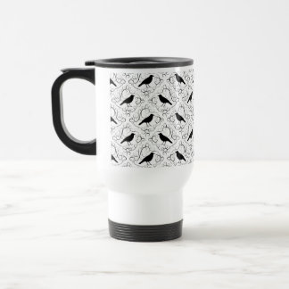 Black and White Elegant Crow Pattern. Travel Mug