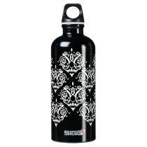 Black and White Elegant Damask Aluminum Water Bottle