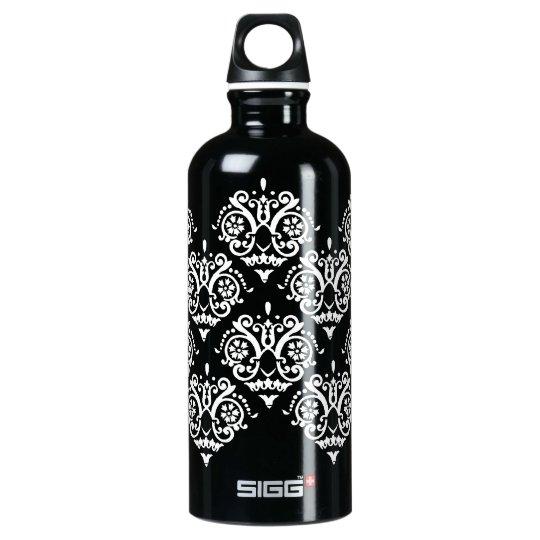 Black and White Elegant Damask Aluminum Water Bottle